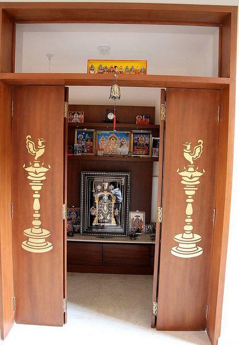 10 Pooja Room Door Designs That Beautify Your Mandir Entrance: Modern Pooja Room Designs. Know More Here: Bit.ly/1MANxb5