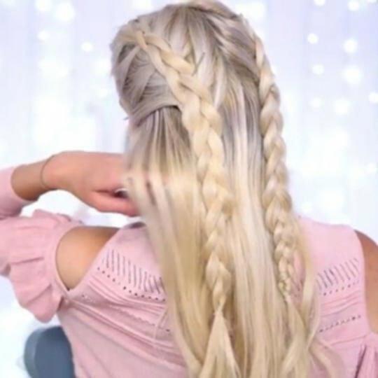 French Braid Bun Half Up Half Down Hairstyle Easyhairstylesforteens Promhairstyleshalfuphalfdown Half French Braids Cute Hairstyles For Medium Hair Down Hairstyles