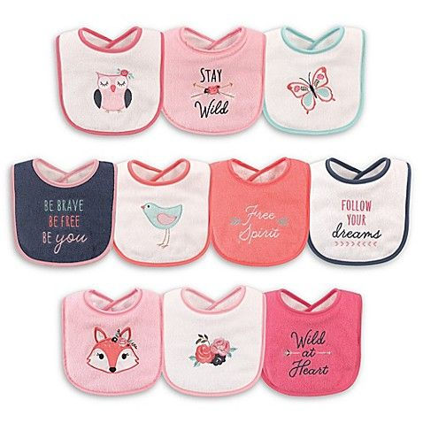 Hudson Baby 10 Pack Fox Drooler Bibs In Pink Drooler Bibs Hudson Baby Drooler