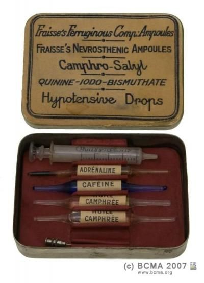 Adrenaline, caffeine, and camphor injection ampoules with needle. {What else could you possible need?}:
