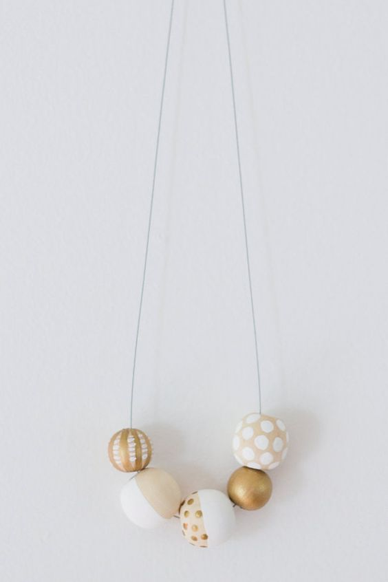 Hand Painted Wooden Bead Necklace: