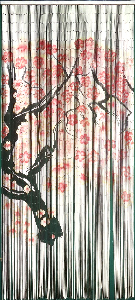 Cherry Blossom Tree Painted Bamboo Curtain 125 Strand 6 5 L X