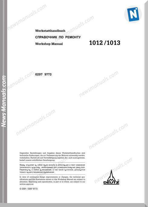 Deutz 1012 1013 Workshop Manual Workshop Manual Electrical Diagram