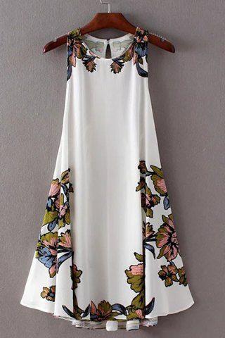 Elegante Pescoço da colher cópia floral Lace-Up vestido assimétrico para Mulheres