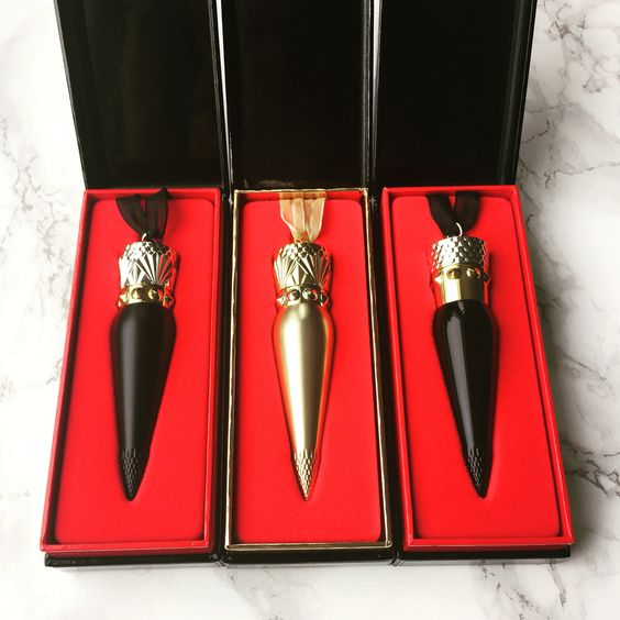 Christian Louboutin lipsticks: Diva matte, Louboutin Rouge in satin and matte.