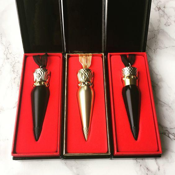 Christian Louboutin lipsticks: Diva matte, Louboutin Rouge in satin and matte.