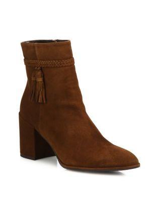 STUART WEITZMAN Tazzie Tassel Suede Block-Heel Booties. #stuartweitzman #shoes #boots