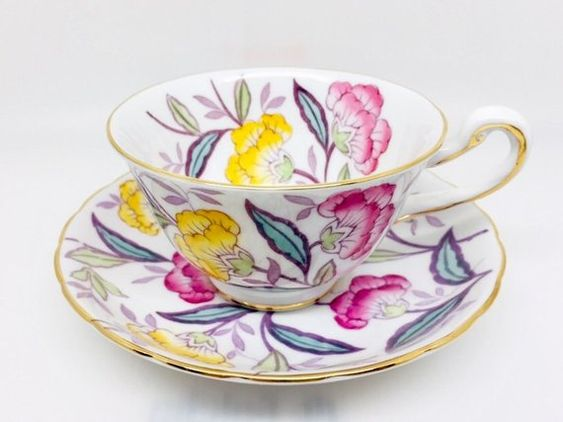 Royal Chelsea Mum Tea Cup and Saucer, Pink and Yellow Flowers, Pattern 4190A, Vintage English Bone China