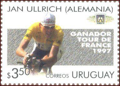 Jan Ullrich auf einer Briefmarke Uruguay,