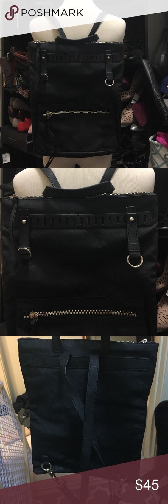 Free people backpack black and faux leather Flat and low profile backpack, great for traveling ! Free People Bags Backpacks