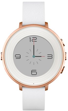 Pebble Time Round Smartwatch - Rose Gold with White Leather $249.99 14MM Strap. The new Model of Pebble Watch looks rather sharp!