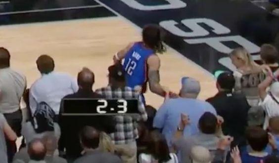 Fan grabbed Steven Adams' arm on final play of Game 2...: Fan grabbed Steven Adams' arm on final play of Game 2 (Video)… #StevenAdams