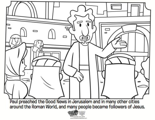 Paul Preaching Free Coloring Page From The Book Of Acts Whatsinthebible