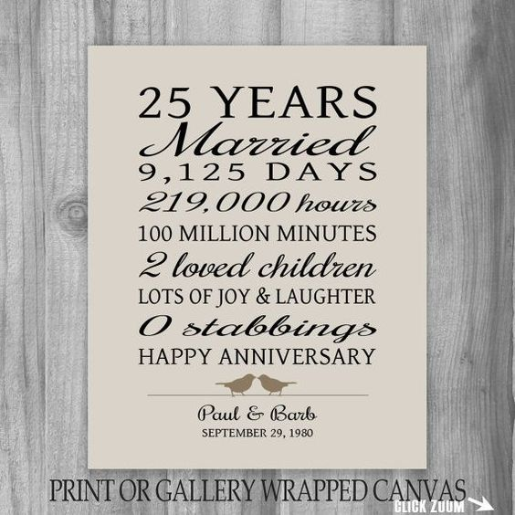 prints 25 year anniversary gift gifts parents anniversary gifts gift ...