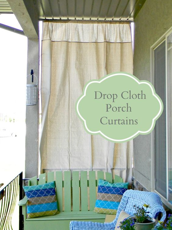 drop cloth porch curtains organize and decorate everything popular pins pinterest drop. Black Bedroom Furniture Sets. Home Design Ideas