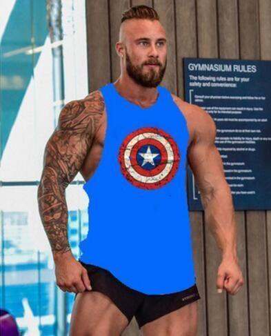 Blue More Mile Muscle Mens Fitness Vest