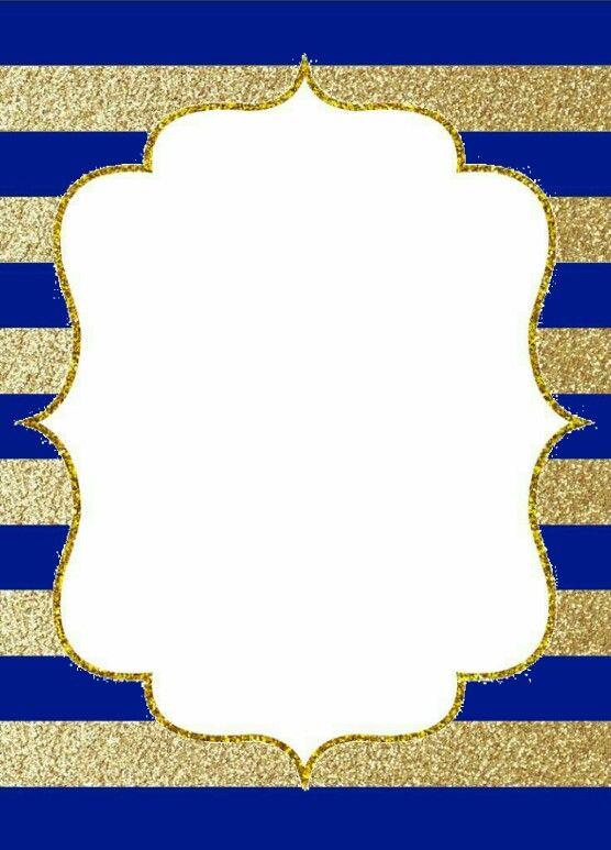 Fondo Azul Y Dorado Rayas 2 Invitaciones Imprimibles