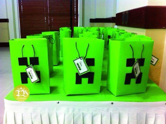 Minecraft candy bags Cumpleaños temática Minecraft Managua Nicaragua Indira Baldelomar Event Planner