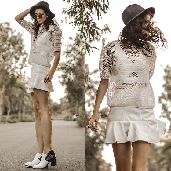 Sheinside White Ruffle Skirt, Trilby Hat, White Mesh Over Top - White Haven  - Elle-May Leckenby