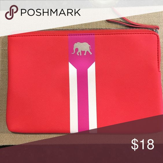 "Stella and Dot Capri Pouch EUC. Hot pink/poppy. 6.75"" H x 10.75"" L x 1"" W Stella & Dot Bags Cosmetic Bags & Cases"