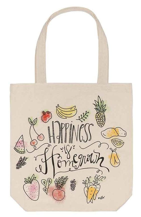 """""""Happiness is Homegrown"""" Canvas Tote Bag"""