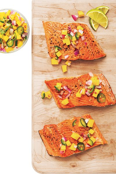 Have a healthy fish dinner when you make this easy Seared Wild Salmon with Mango Salsa recipe