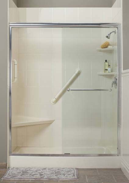 Bathroom New Acrylic Shower With Built In Seat And Grab