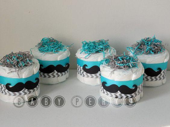 Choose Your Color   Set Of 4   Mustache Mini Diaper Cakes , Little Man  Diaper