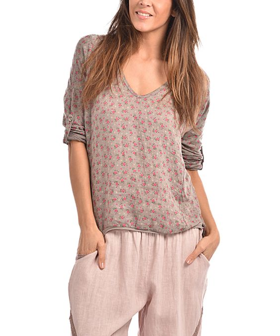 this Taupe Camelia Linen Top by Couleur Lin on #zulily! #zulilyfinds