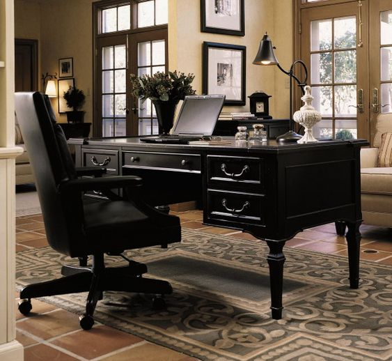 Black Chair And Desk With Drawers In Luxury Office