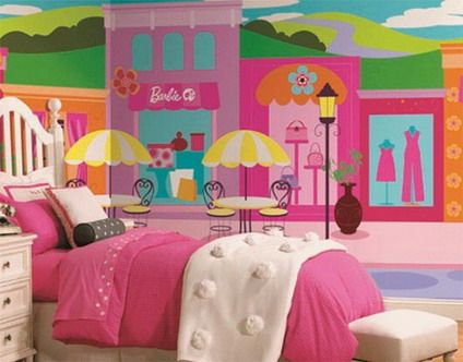 Colorful barbie city wall murals stickers for pink teenage for Barbie princess giant wall mural