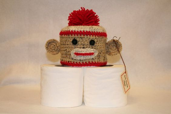 Sock Monkey Toilet Tissue Cover by SockMonkeyVillage on Etsy, $15.00