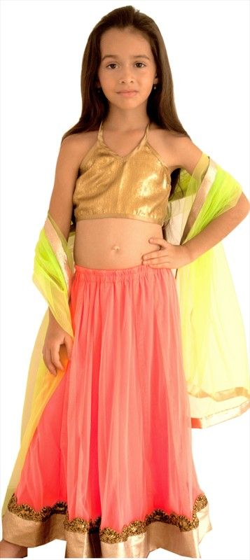 200470: Aww...how cute is this #lehenga for your little daughter in neon shades. Order it here.  #kidswear