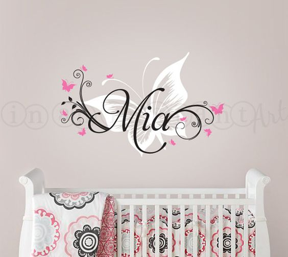 Girls butterfly wall and overalls on pinterest for Childrens butterfly bedroom ideas
