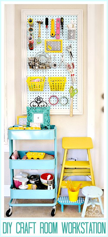 10 Craft Room Pegboard Organization Ideas | Dawnnicoledesigns.com Love the color combination!