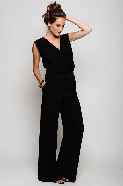 Simple black wide leg jumpsuit | Nicole's Style | Pinterest ...