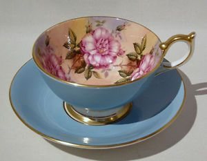 Vint-AYNSLEY-DARK-PINK-CABBAGE-ROSE-BOWL-amp-GOLD-GILDED-Cup-amp-Saucer-ATHENS-Shape $315