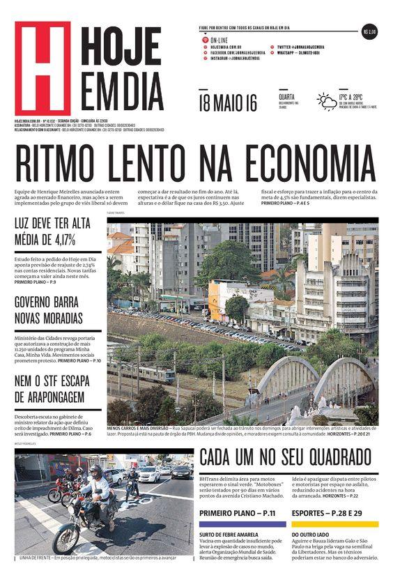 Capa do dia 18/05/2016 #HojeEmDia #Jornal #Notícias #News #Newspaper