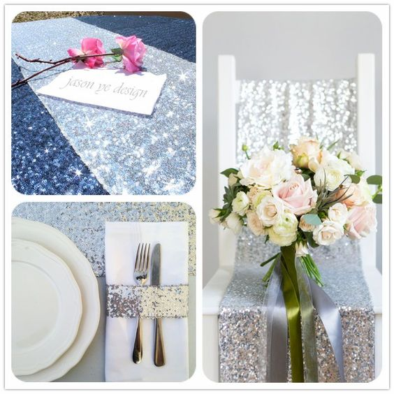 Lowest Price Bling Silver Sequin Table Runner For Wed/Party/Birthday Decor