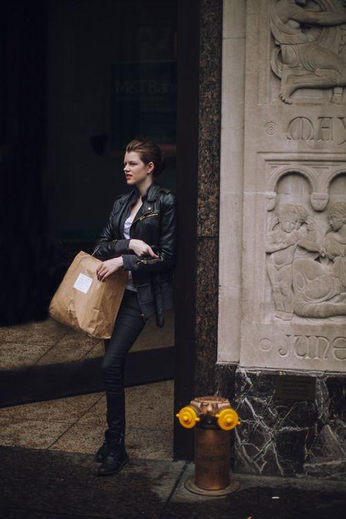 Antonia Wesseloh outside after walking for Oscar de la Renta Resort 2013