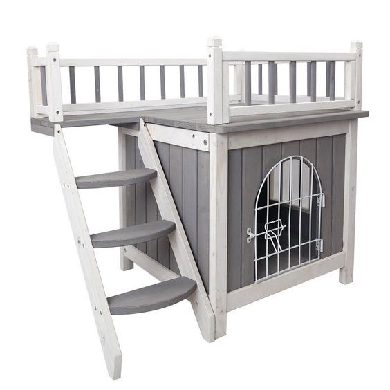 Use code 10%off at checkout for additional discounts! Grey&White Wooden Indoor Dog House