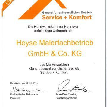 Ausgezeichnet! Generationsfreundlicher Betrieb Service und Komfort – Handwerkskammer Hannover verleiht uns das Markenzeichen