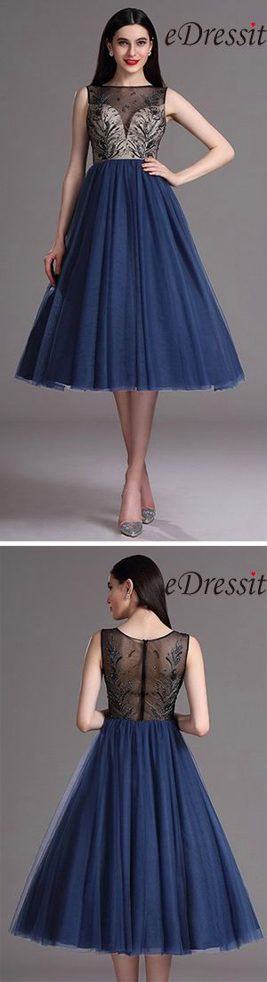 blue embroidery tea length formal party dress