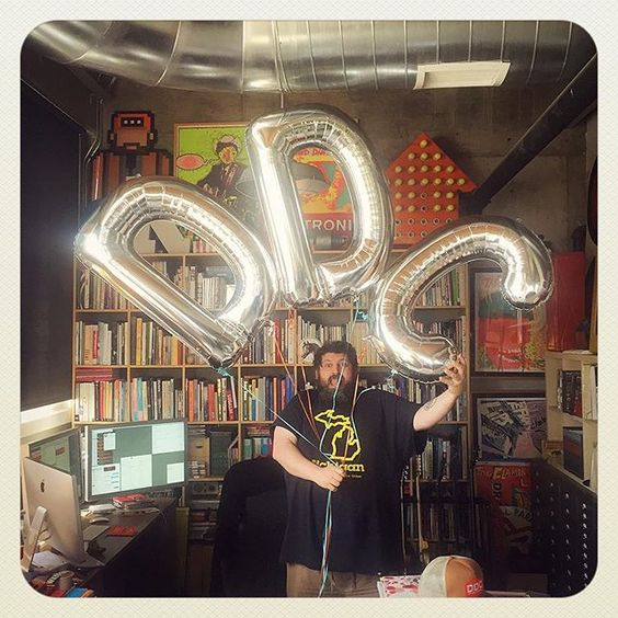 """PARTY TIME, EXCELLENT: @leighola77 brought me some boss """"DDC"""" balloons! But she said it stood for """"Dick, Dingleberry and Crap."""" Real nice, girlie. Quite a mouth on you. We're partying pretty hard here, as you can tell. #thoughtfulgirlfriends #ddcbook #prettymucheverything #pantoneorange021 #dick #dingleberry #crap #partytricks #goingapeshit"""