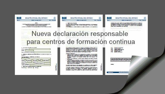 Nueva declaración responsable centros de formación continua