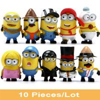10 PCS/Set Minions Kid Toys Despicable Me 3 PVC Action Figure Cosplay Minion Christmas Birthday Gift Model Collection Doll Track