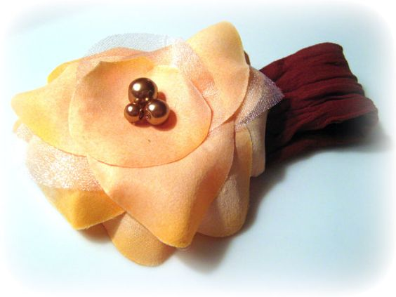 Peach Yellow Flower on Nylon Brown Headband with by frillsandfuss, $8.00