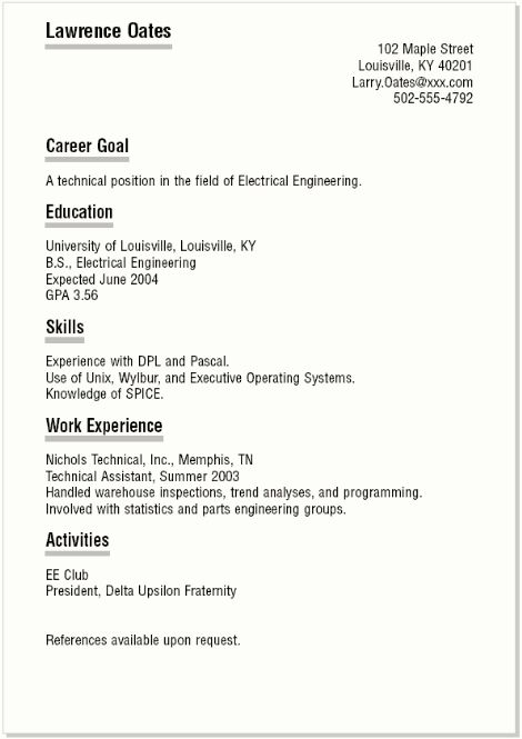 out of college resumes