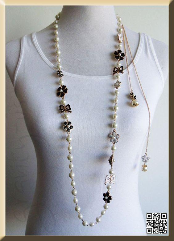 sautoir chanel perle de la cha ne wrap fleur de. Black Bedroom Furniture Sets. Home Design Ideas