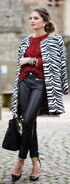 zebra print jacket/ black leather/ red knit/ black & gold {#Zebra by Fashion Hippie Loves}
